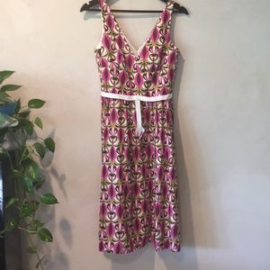 Laundry cotton fuchsia ivory and  brown dress